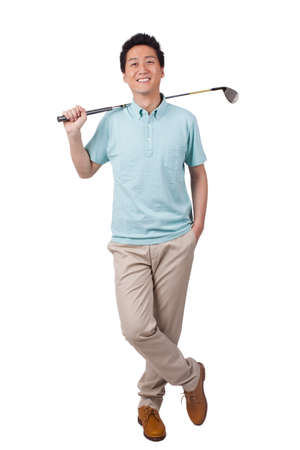 Young man holding golf swing and smiling high quality photo