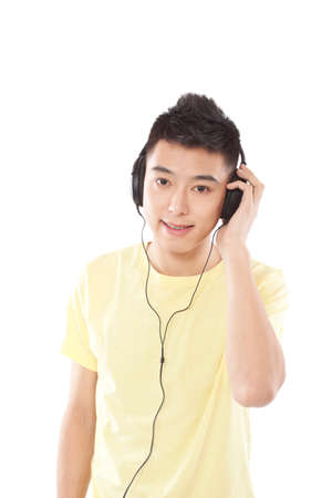 Portrait of young man listening misic high quality photo
