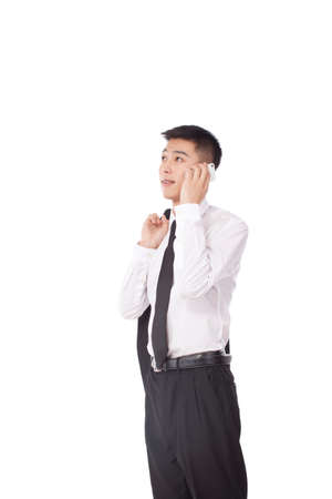 Portrait of young Business man using cell phone high quality photo
