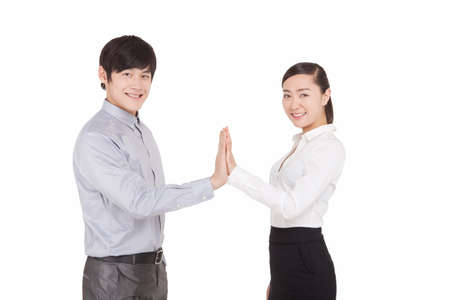 Portrait of business man and business woman claping high quality photo