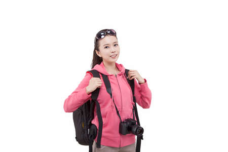 Portrait of young female with camera,carrying backpacker high quality photo