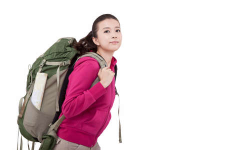 Portrait of a young female carrying backpacker high quality photo