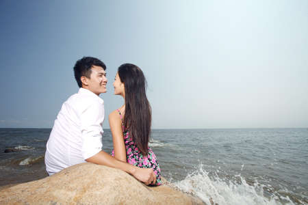 Portrait of A happy young Couple on seaside high quality photo