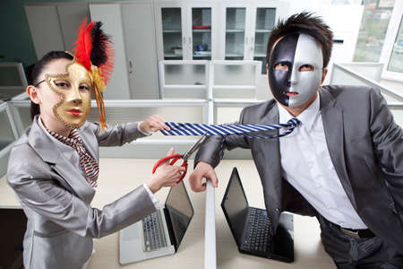 Business person standing in office, wearing mask high quality photo