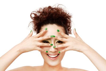Oriental beauty makeup close-up high quality photo