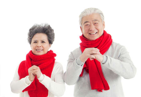 Oriental old couples to celebrate the new year high quality photo