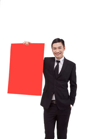 Business people with red cardboard high quality photo