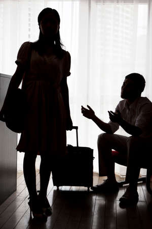 Portrait of Troubled couple,silhouette high quality photo