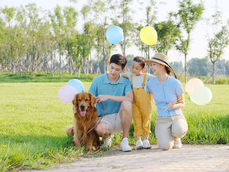 Happy family of three and pet dog in the park high quality photo