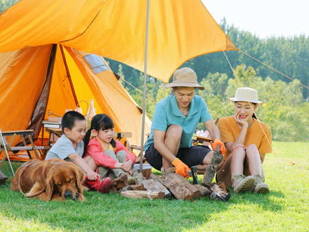 Happy family of four and dog camping out high quality photo Banque d'images