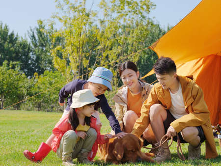 Happy family of four and pet dog in the park high quality photo Banque d'images