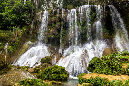 The famous waterfalls of El Nicho on Cuba Stock Photo - 70933820