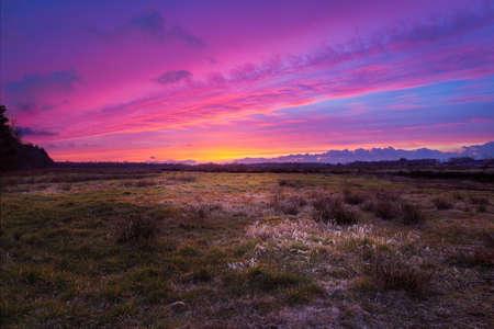 A Purple sunset over Wiesmoor Stock Photo