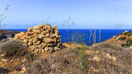 stapled: Stapled stones on the coast of Fomm ir-Rih, Malta Stock Photo