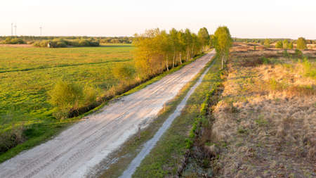 A sand road to the Lengener Meer near Uplengen Stock Photo
