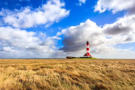 westerheversand lighthouse: The Lighthouse Westerheversand near Westerhever Stock Photo