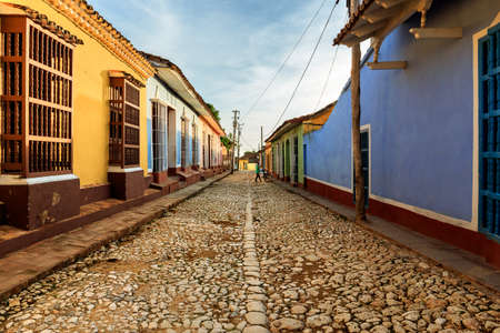 A typical street scene in Trinidad, Cuba Stock Photo