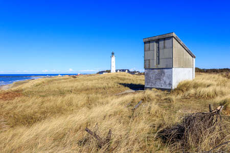 Lighthouse at the northern sea coast of Hirtshals, Denmark
