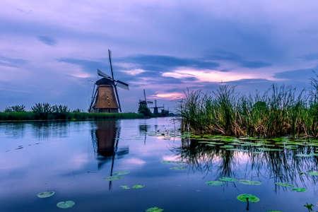 The famous mills of Kinderdijk in the Netherlands