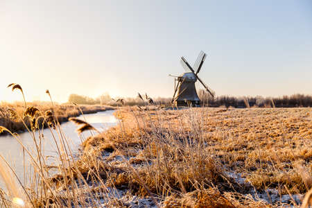 The Wedelfelder mill at sunrise on a cold winter morning in January. Stock Photo