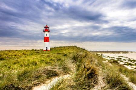 등대 목록 독일 북부 해안에있는 아일 랜드 섬의 엘렌 보겐 (Ellenbogen)에있는리스트 오스트 (Ost) 스톡 콘텐츠