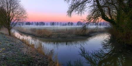 Sunrise near Sande - Neustadtgoedens in Eastfrisia Stock Photo