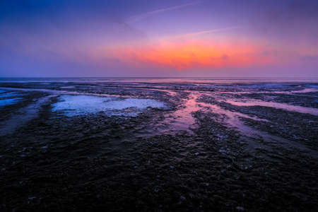 Winter sunrise at Punt van Reide in the Netherlands Stock Photo