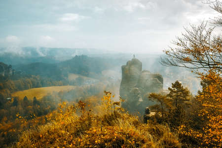 Autumn colors in the Elbsandsteingebirge (Elbe sandstone mountains) near Rathen