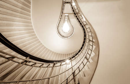 A lightbulb styled stairway in the house of the black madonna in Prague