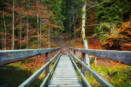 A wooden bridge over the edmund gorge near the old ground mill Stock Photo