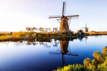 The windsmills of Kinderdijk near Rotterdam in the Netherlands
