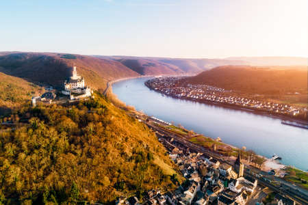 The Marksburg above the village Braubach at the river Rhine Stock Photo