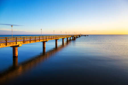 The pier (german: Seebrücke) of Ahlbeck on the Island Usedom on a cold frosty morning.