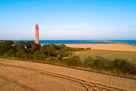 The lighthouse Fluegge (german Flügge) as seen from the sky on a sunny day. It was build from 1914 to 1915.