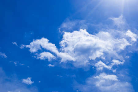 Blue sky and white clouds under the sun