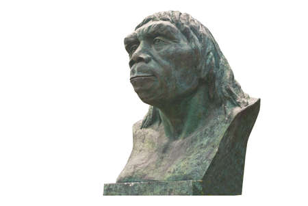 Beijing ape man sculpture in write backgrand Stock Photo - 7366704