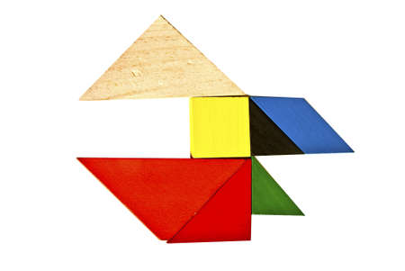 Tangram pattern composed of fine Stock Photo