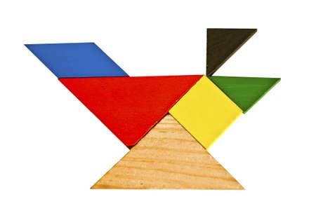 color tangram: Tangram pattern composed of beautiful birds Stock Photo