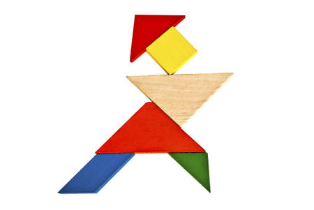 Tangram pattern composed of beautiful humanoid movement 스톡 사진