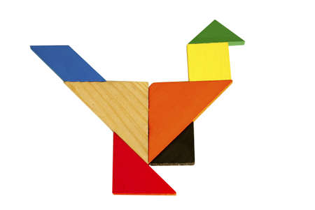 Tangram pattern composed of beautiful birds 스톡 사진