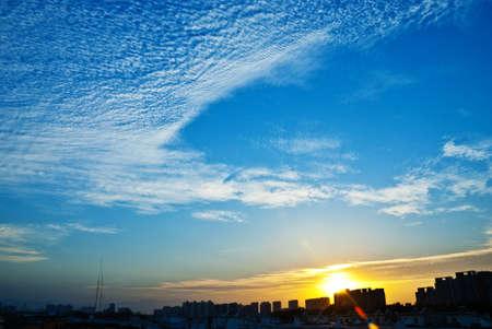 City beautiful evening sunset clouds