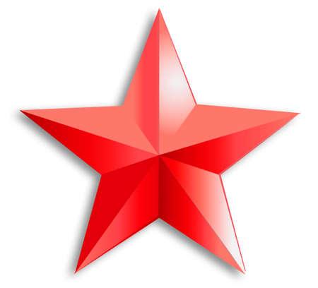 Red three-dimensional star