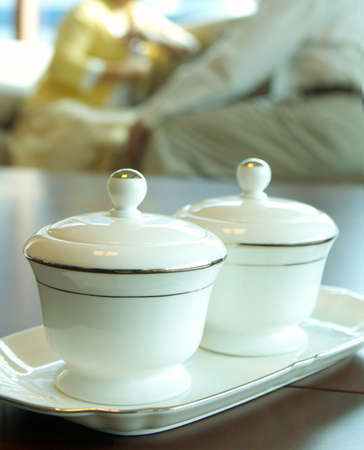 Two tea cups on a tray