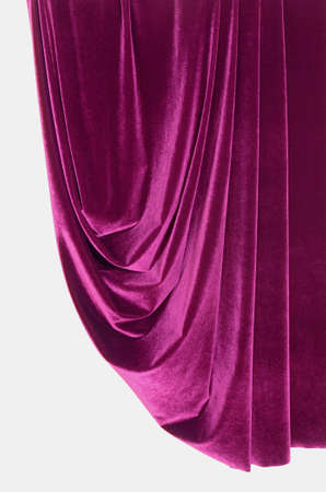 Purple fabric hanging on the white background 스톡 사진