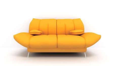 3D yellow sofa Stock Photo