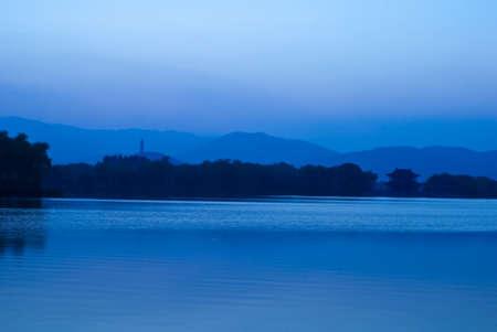 Summer Palace after sunset Kunming Lake
