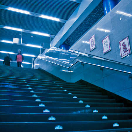 The escalator of the subway station in Beijing china.