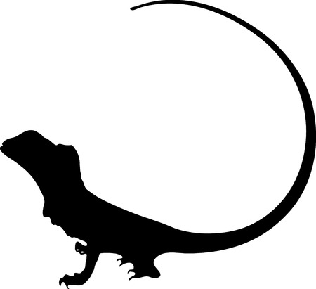 Vector graphic outline of a Frilled Dragon. Ilustrace