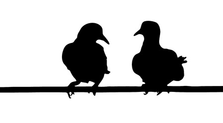 Vector graphic outline of two doves perched close together. Stock Vector - 22568445