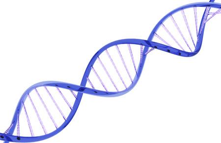 Close-up DNA-streng gemaakt van een glas materiaal op een witte achtergrond Stockfoto